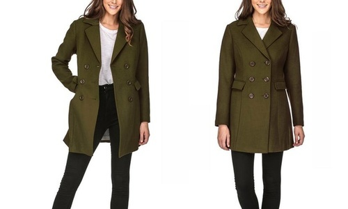 1f60a4517f3c Haute Edition Women s Double Breasted Peacoat - Olive - Size  Medium ...