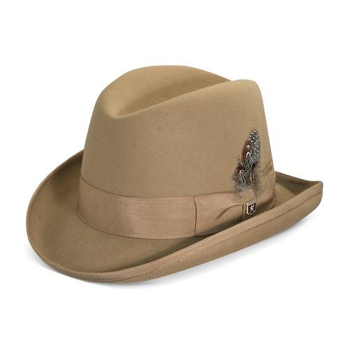 f67f177c1eb Stacy Adams Men s Wool Felt Homburg Hat - Camel - Size  Medium - BLINQ