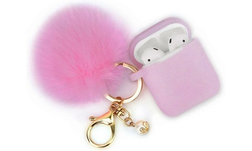 3-Piece AirPod Glitter Case with Keychain Set - Pink