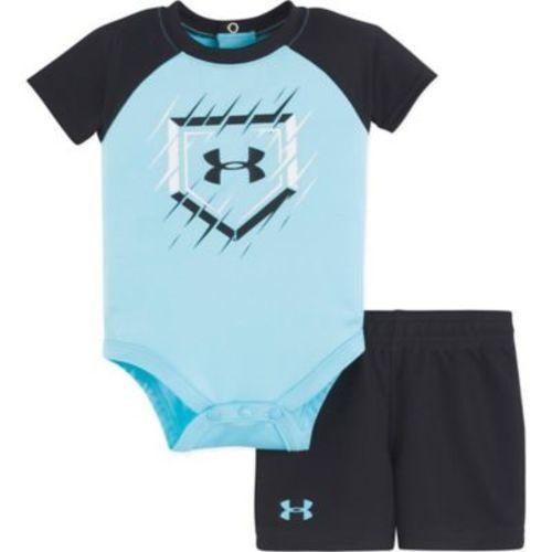 Under Armour Baby Boys 2 Pc Surf Bodysuit And Short Set Blue