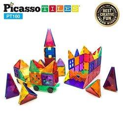 PicassoTiles 180-Piece 3D Color Magnetic Building Block