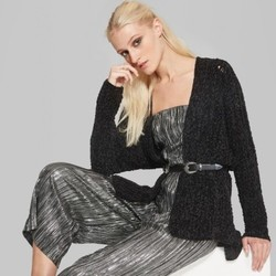 d1b9e8656136 Wild Fable Women s Long Sleeve Chenille Open Cardigan - Black - Size ...