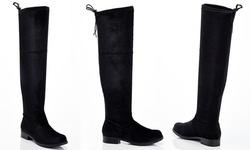 Lady Godiva Women's Jodie Over-the-Knee Velvet Boots - Black - Size:8