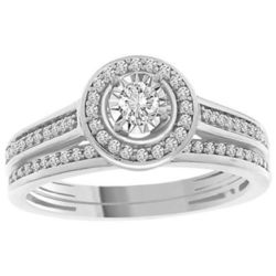 1/4 cttw Round Natural Diamond Halo Cluster Bridal Ring Set 14K White and Yellow Gold -  AV DIAMONDS VAD LLC