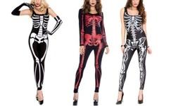 Music Legs Skeleton Bodysuits M/L Black Bones