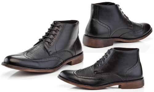5876900a275035 Henry Ferrera Men's Lace Up Dress Wing Tip Oxford Boots - Black ...