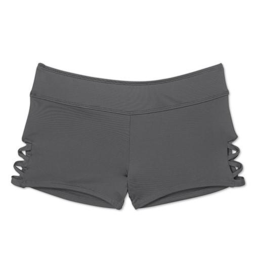 343c29b1e1 Kona Sol Women's Strappy Side Swim Shorts - Gray - Size:S - BLINQ