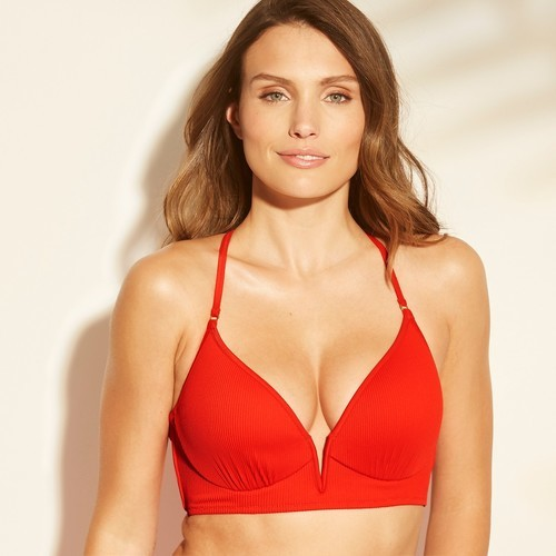 597fa48b9df Shade & Shore Women's Dream V Wire Ribbed Bikini Top - Red - Size ...