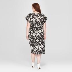 Prologue Women\'s Plus Size Floral Print Wrap Dress - Black/White - Size:1X