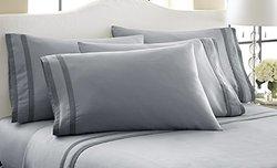 Amrapur 6-Piece 1000TC Egyptian Cotton Sheet Set - Silver/Graphite - Full