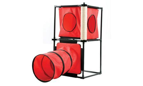 Imperial Home Kitty Cat Condo with Tunnel and Scratching Post - Red photo