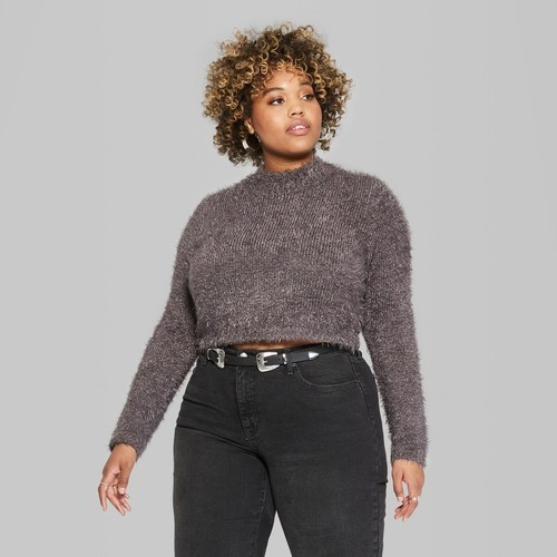 a56caf6bf83 Wild Fable Women's Plus Size Fuzzy Crop Mock Neck Sweater - Gray ...