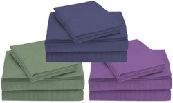 Deals on Super-Soft Bamboo Embossed Bed Sheet Set 4-Piece King Sage