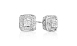 Beauty Gem Diamond Sterling Silver Square Shape Stud Earrings - Silver