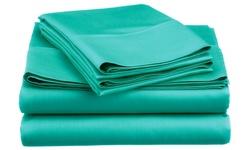 Spirit Linen Super Bright Microfiber Sheet Set - Turquoise - Size: Queen