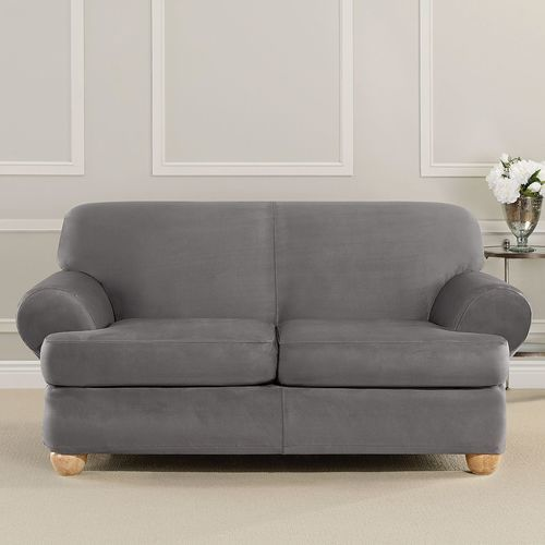 Enjoyable Sure Fit 3 Pc Ultimate Stretch Suede T Loveseat Slipcover Set Slate Gray Check Back Soon Gmtry Best Dining Table And Chair Ideas Images Gmtryco