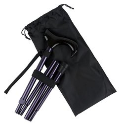 Ez2care Classy Adjustable Folding Cane with Carrying Case, Metallic Purple