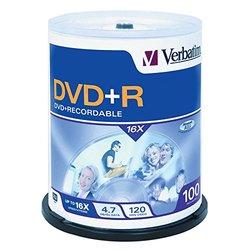 Verbatim DVD+R Life 4.7 GB 16X Spindle - Pack of 100