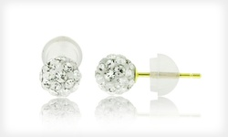 14-Karat Gold 8mm Swarovski Elements Stud Earrings - White