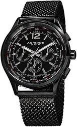 Akribos XXIV Men's Explorer Swiss Multifunction Stainless Steel Mesh Watch: Black