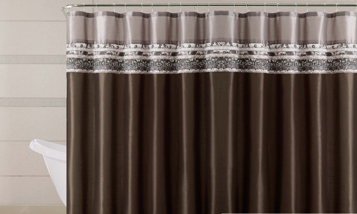 Victoria Classics Poetica Faux Silk Pieced Fabric Shower Curtain Chocolate