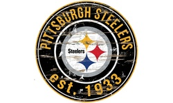 Nfl Round Distressed Sign: Steelers