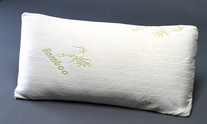 Zen Bedrooms Memory-Foam Pillow w/ Bamboo Covers - 2 Pack - White - Sz: Q -  Check Back Soon