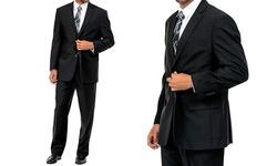Klub Nico Men's 2-Button Flat Front Suit - Black - Size: 50L/44W