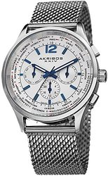 Akribos Men's Swiss Mesh Bracelet Watch - White/Stainless Steel (AKGP716SS)