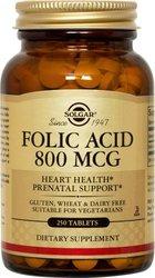 Solgar Folic Acid Tablets, 800 mcg, 250 Count
