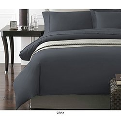 NY Collection 3PC Ultra Soft Duvet Cover Set - Gray - Full/Queen