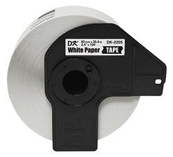 """Brother DK2205 Black/White Continuous Length Paper Tape - 2.4"""" x 100'"""