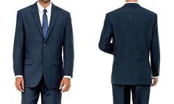Men's 2-Button Flat Front Suit - Navy - Size: 44R/38W