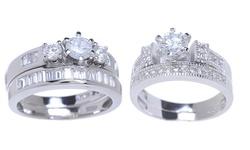 18K White Gold Plated CZ Ring Set: Tri-Stone/Sz 7