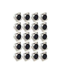 GLS Audio XLR Female Jack 3 Pin Panel Mount Jacks D Series XLR-F 20 PACK