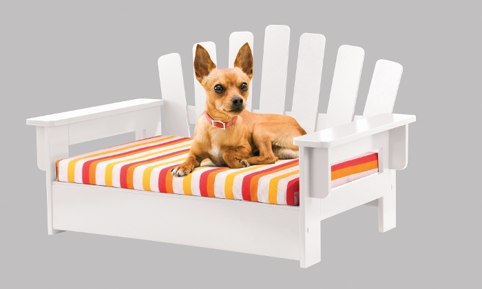 Ordinaire ... Etna Wooden Adirondack Pet Chair With Cushion   White ...