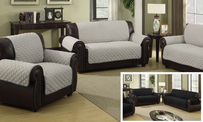 Duck River Textile Microfiber Quilted Loveseat Cover Silver Black