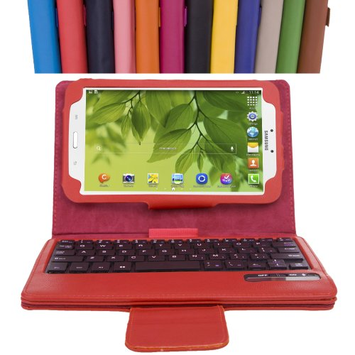 MoKo Samsung Galaxy Tab 3 7 0 Keyboard Case - Wireless Bluetooth Keyboard  Cover Case for Samsung Galaxy Tab 3 7 0 Inch Android Tablet, RED (WILL NOT