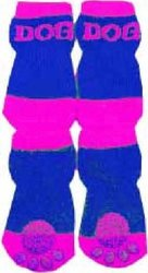 Dog Socks w/ Rubberized Soles: Purple & Blue / L