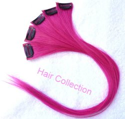 "Hair Collection-18"" Hot Pink 100% Human Hair Clip in on Extensions - 1.6""widex5pcs"