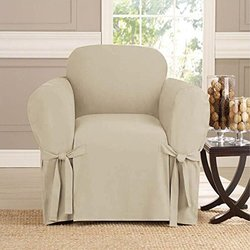 Kashi Home Microsuede Furniture Slipcover Chair - Taupe - Size: 70 x 90