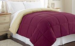 Down Alternative Reversible Comforter: Anemone-Wheat/Q