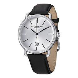 Stuhrling Original Men's Swiss Symphony Dress Watch - Black Band/Silver Dial