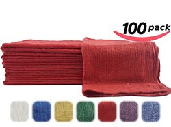 Utopia Cotton Auto Shop Towels - 100-Pack - Red