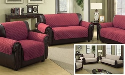 Duck River Textile Quilted Reversible Sofa Slipcover - Garnet/Natural