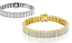 Beauty Gem Women's 1.00 CTTW Yellow Gold Diamond Bracelet - Size: S