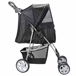 OxGord Pet Stroller Travel Carrier Carriage - Onyx Black - Size: 4Wheeler