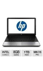 "HP 15.6"" Laptop i5 1.60GHz 8GB 1TB Win7- Silver (J5P04UT#ABA)"
