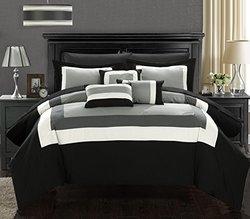 Duke 10-piece comforter Set: Black/ King