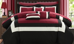 Chic Home Danny 10-Piece Comforter Set - Red - Size: King